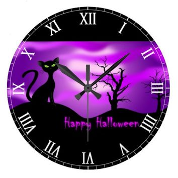 Happy Halloween Black Cat Purple Large Clock
