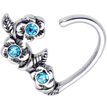 "3/8"" Aqua Gem Bunch of Roses Right Daith Cartilage Tragus Earring"