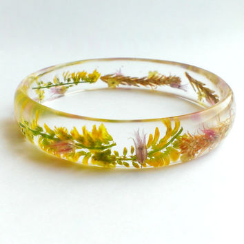 Crystal Resin Bangle With Real Dried Flowers-Floral Transparent Bracelet-Eco Friendly Jewelry-Flowers And Spikelets Bracelet-Nature Bangle
