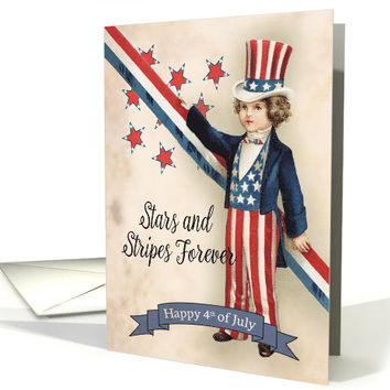 Little Boy Stars and Stripes Forever for Vintage 4th of July card