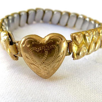Gold Filled Baby Bracelet, Victorian Sweetheart Bracelet, Etched Hearts, Vintage Baby Jewelry, New Baby, Toddler Birthday