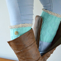 Mint Knitted Boot cuffs, Lace trim Button boot cuffs