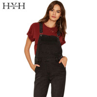 HYH HAOYIHUI Solid Black Women Jumpsuit Adjustable Strap Button Pockets Overall Jumpsuit Preppy Style Casual Denim Jumpsuit
