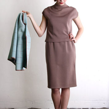 3 Piece Suit . Mint Chocolate Knit Top Jacket Skirt . by VeraVague