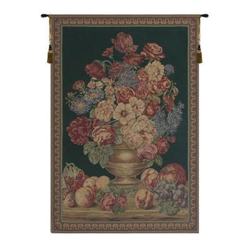 Vase on Green Mini Tapestry Wall Hanging