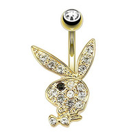 Paved Gem Playboy Bunny with Black Gem Eye Gold Plated Navel Ring