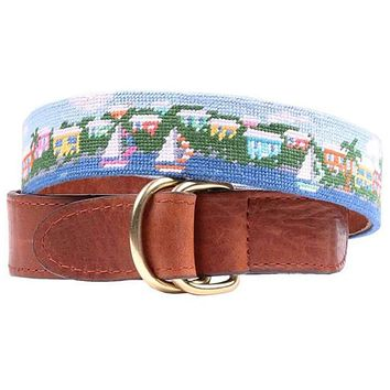 Island Time Needlepoint D-Ring Belt by Smathers & Branson