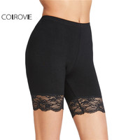 COLROVIE Black Skinny Shorts Women Brief Vintage Lace Trim Casual Basic Shorts 2017 Summer Fashion Elegant Sexy Slim Shorts