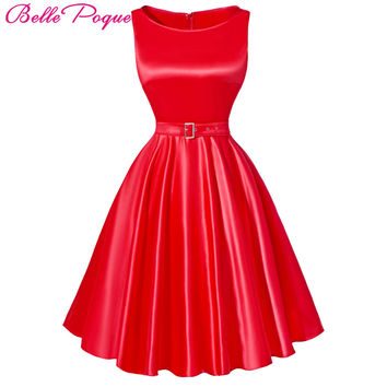 Belle Poque Jurken Women Dress Black Red Summer Audrey Hepburn 50s 60s Vintage Dresses Vestidos Plus Size Rockabilly Party Dress