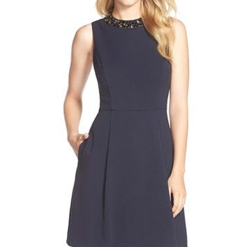 Women's Eliza J Embellished Double Crepe Fit & Flare Dress,
