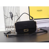 FENDI WOMEN'S LEATHER MEDIUM BAGUETTE HANDBAG SHOULDER BAG
