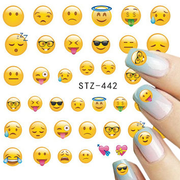 STZ 1 Sheets Various Phone Expression Designs for Water Transfer Sticker Decals Nail Art Tips Nail Art Tattoo STZ440-443