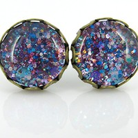 Antiqued Gold-tone Purple and Blue Glitter Glass Stud Earrings Hand-painted 10mm