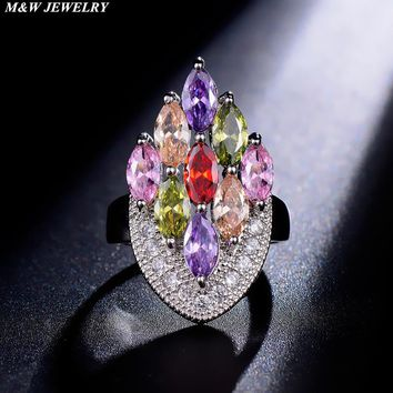 M&W JEWELRY 2017 New Arrival Multicolor Fashionable Flower Ring for Women Rose Gold Color with AAA Zircon Rings Wedding Ring Hot