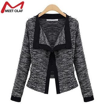 2017 women knitting blazer womens long sleeve knitted Cardigan ladies elegant long sleeve jackets and coats Blaser YL435