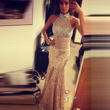 Long Mermaid Prom Dresses Luxury Sparkly Beaded Crystal Halter Backless Sexy Formal Evening Gowns Dress