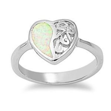 Sterling Silver Half Heart Filigree 11MM White Lab Opal Ring