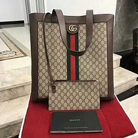GUCCI Stylish Woman Men  Leather File Bag Tote Handbag B-AGG-CZDL