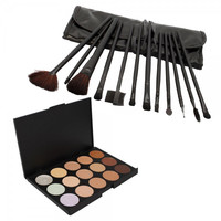 15 Color Camouflage Concealer Palette with 12pcs Makeup Brush Set