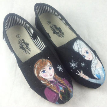 Custom Hand Painted Shoes - Frozen Elsa and Anna
