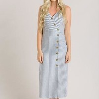 Sydney Stripe Midi Dress - Morning Lavender