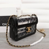 HCXX 19July 022 Fashion Simple high-capacity Transparent clamshell cosmetic bag Chain Single Shoulder Bag 28-10-20 black gold