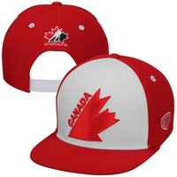 Old Time Hockey Team Canada Vintage Snapback Hat - Red/White