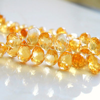 Citrine Gemstone Briolette AAA Yellow Faceted 3-D TearDrop Top drilled 8 to 9mm 1/2 Strand 30 beads