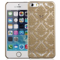 iPhone SE Case, GreatShield TACT Series Design Pattern Rubber Coating Ultra Slim Fit Hard Case Cover for Apple iPhone SE / 5S / 5 (Damask - Gold)