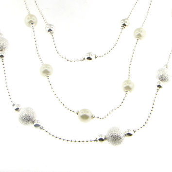 Triple Strand Glass Pearls and Silver Ball Necklace