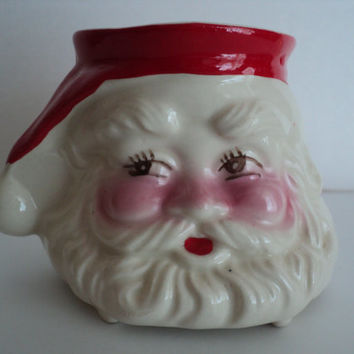 Santa Claus Ceramic Mug Vase Planter Jolly St. Nick Candy Cane Holder Father Christmas Office Supply Holiday Jar Secret Santa Gift