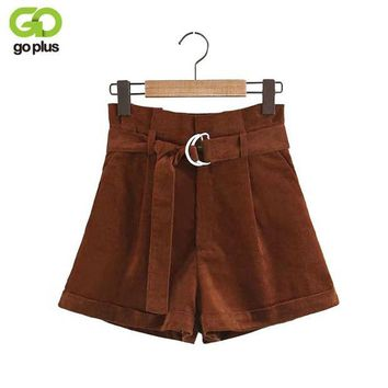 DCCKKFQ GOPLUS Fashion Casual Corduroy Wide Leg Shorts Women 2018 Spring Summer Shorts Solid Loose High Waist Shorts Feminino C4998