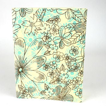 Sky Blue Floral Soft Journal Recycled Fabric Pages