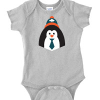 Hipster Penguin Baby One Piece