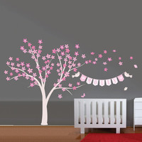 Tree and Flowers with baby name banner for girls room - Tree, Flowers, Birds and name banner - Fabric wall decal- Removable and reusable-51