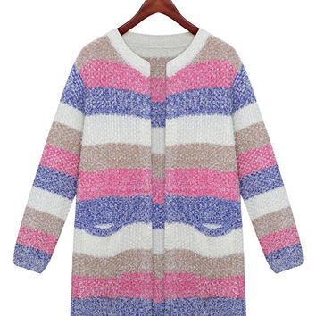 Striped Long Sleeve Mohair Cardigan