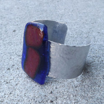 Blue and Red Glass Aluminum Cuff Bracelet