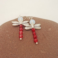 Red Crystal and Opolite Dragonfly Earrings, Dragonfly Earrings, Sterling Silver, Dragonfly Earrings in Red