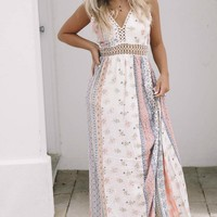 Much To See Coral Print Maxi Dress
