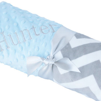 Stroller Size Gray and White Minky Chevron Baby Blanket with Baby Blue Dot Minky Back Personalization Included over 35 fonts to choose fro