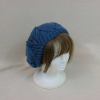 Blue Slouchy Beanie Lace Hat Baggy Knit Large Slouch Tuque Dread