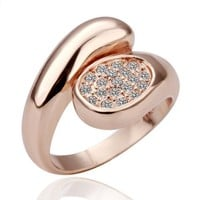 18K Rose Gold Plated Swarovski Element Pave Oval Knot Freestyle Ring