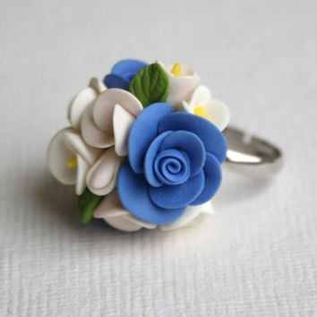Handmade Buttercups and Roses Flowers Ring