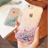 Love Heart Stars Glitter Stars Dynamic Liquid Quicksand Soft TPU Phone Back Cover Case For iPhone 5 5S SE 6 6S Plus 7 7 Plus