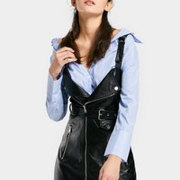 Zippered Faux Leather Belted Mini Dress