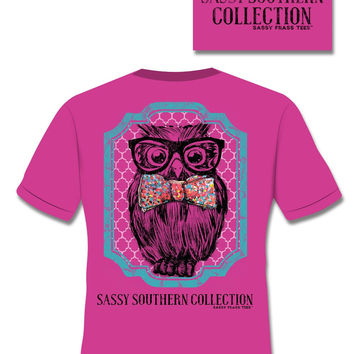 SALE Sassy Frass Comfort Colors Southern Preppy Owl Glasses Bow Pink Bright Girlie T Shirt