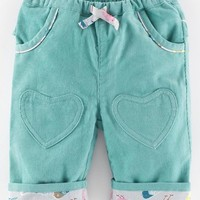 Infant Girl's Mini Boden Heart Patch Pants,