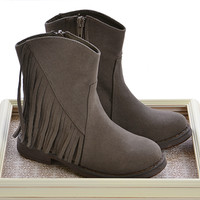 Volatile Kids Fringe Ankle Boot in Taupe