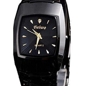 Feiwo Black Metal Watch / Black Rectangular Face w/ Gold and Crystal