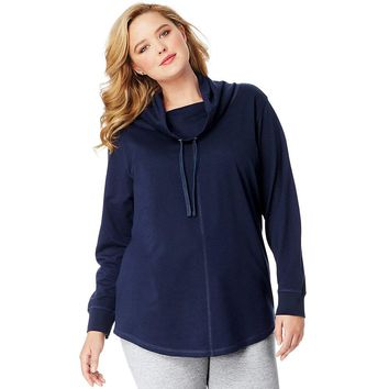 JMS French Terry Cowl Neck Tunic Style: OJ326-Navy 1X